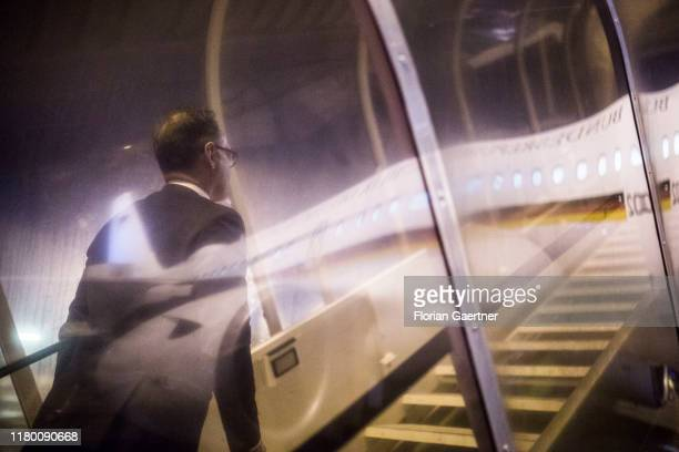 German Foreign Minister Heiko Maas arrives at the government plane before his flight back to Berlin on November 04 2019 in Budapest Hungary