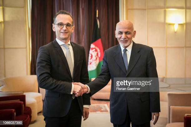 German Foreign Minister Heiko Maas gets together with Aschraf Ghani President of Afghanistan on November 28 2018 in Geneva Switzerland The conference...
