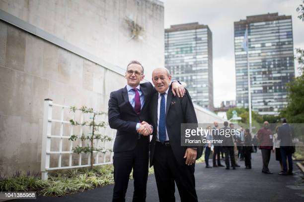German Foreign Minister Heiko Maas gets together with JeanYves Le Drian Minister for Foreign Affairs of France on September 26 2018 in New York City...