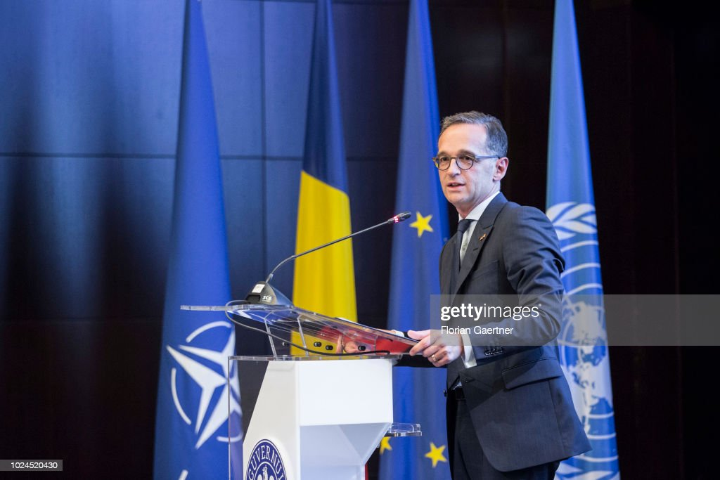 German Foreign Minister Heiko Maas is pictured during his speech at the plenary session of the Ambassadors' Conference on August 27, 2018 in Bucharest, Romania. Maas travels to Romania to take part at the Ambassadors' Conference and for political conversations.