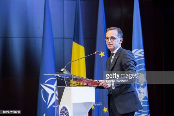 German Foreign Minister Heiko Maas is pictured during his speech at the plenary session of the Ambassadors' Conference on August 27 2018 in Bucharest...