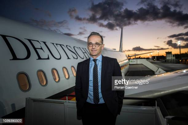 German Foreign Minister Heiko Maas is pictured in front of the government plane on September 24 2018 in Berlin Germany Heiko Maas travels to New York...