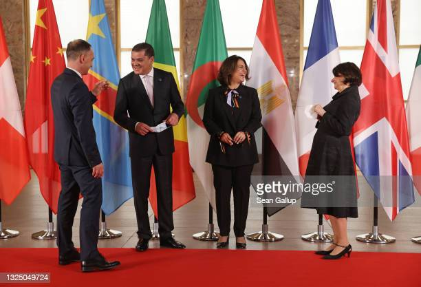 German Foreign Minister Heiko Maas , Libyan Prime Minister Abdulhamid Mohammed Dbeiba, Libyan Foreign Minister Najla Mangoush and United Nations...
