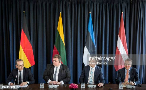 German Foreign Minister Heiko Maas, Linas Antanas Linkevicius, Foreign Minister of Lithuania, Sven Mikser, Foreign Minister of Estonia, and Edgars...