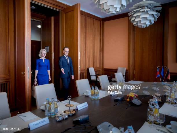 German Foreign Minister Heiko Maas meets Aurelia Frick Minister for Foreign Affairs Justice and Culture of Liechtenstein on October 12 2018 in Berlin...