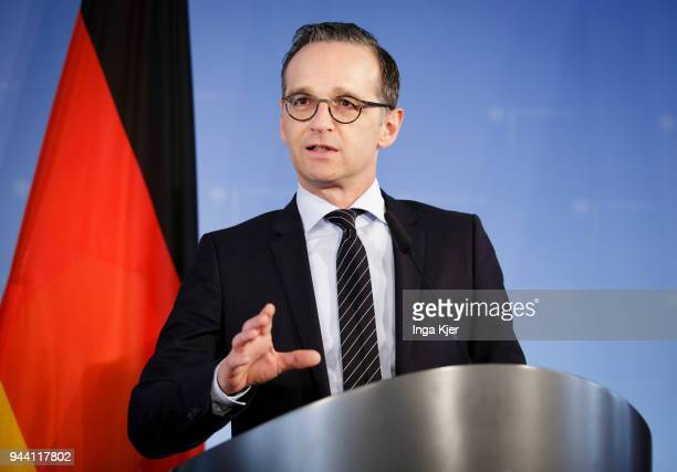 German Foreign Minister Heiko Maas meets his Swedish counterpart and gives a press conference on April 10 2018 in Berlin Germany