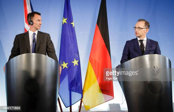German Foreign Minister Heiko Maas meets Jeremy Hunt British Foreign Secretary on July 23 2018 in Berlin Germany They give a press conference