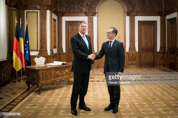 German Foreign Minister Heiko Maas meets Klaus Johannis , President of Romania, on August 27, 2018 in Bucharest, Romania. Maas travels to Romania to...