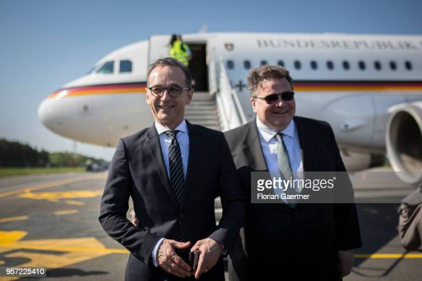 German Foreign Minister Heiko Maas meets Linas Antanas Linkevicius Foreign Minister of Lithuania at the airport on May 11 2018 in Palanga Lithuania...