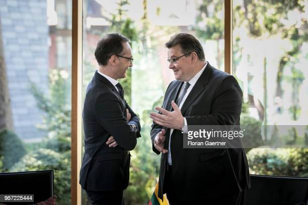 German Foreign Minister Heiko Maas meets Linas Antanas Linkevicius Foreign Minister of Lithuania on May 11 2018 in Palanga Lithuania Maas travels to...
