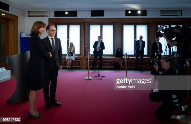 German Foreign Minister Heiko Maas meets Maria Angela Holguin Foreign Minister of Columbia on May 09 2018 in Berlin Germany