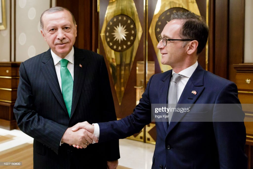 German Foreign Minister Heiko Maas (r) meets Recep Tayyip Erdogan, President of Turkey, on September 05, 2018 in Ankara, Turkey. Maas is on a two day trip in Turkey to hold political talks.