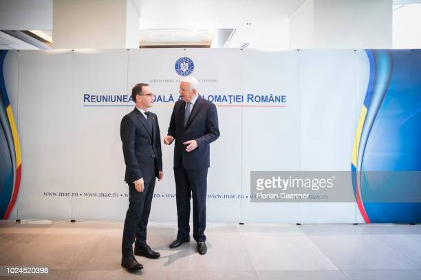 German Foreign Minister Heiko Maas meets TeodorViorel Melescanu Foreign Minister of Romania on August 27 2018 in Bucharest Romania Maas travels to...