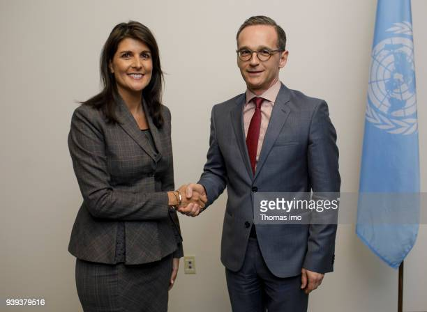 German Foreign Minister Heiko Maas meets with Nikki Haley US Ambassador to the United Nations on March 28 2018 in New York New York