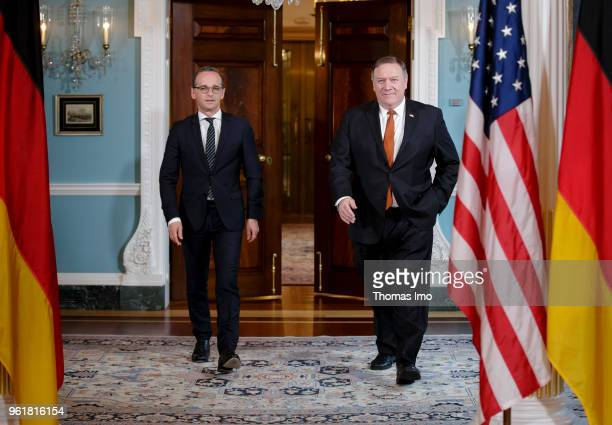 German Foreign Minister Heiko Maas meets with Secretary of State Michael Pompeo on on May 23 2018 in Washington DC Maas is in Washington DC for...