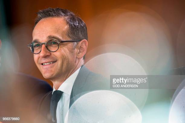 German Foreign Minister Heiko Maas smiles during the weekly cabinet meeting at the Chancellery in Berlin on May 9 2018