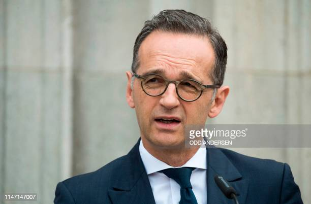 German Foreign Minister Heiko Maas speaks during a joint press conference with the US Secretary of State after a meeting at Villa Borsig in north...