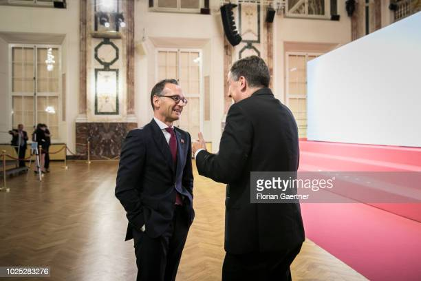 German Foreign Minister Heiko Maas talks with David McAllister Chairman of the European Parliament Foreign Affairs Committee during the Gymnich...