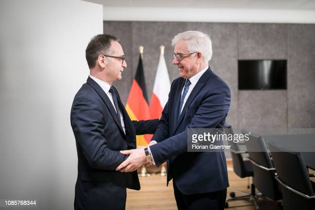 German Foreign Minister Heiko Maas talks with Jacek Czaputowicz Foreign Minister of Poland during the EU Foreign Affairs Council on January 21 2019...