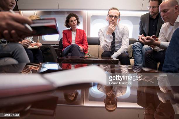 German Foreign Minister Heiko Maas talks with journalists during the flight to Dublin on April 12 2018 in Berlin Germany Maas travels to Ireland and...