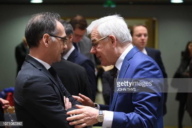German Foreign Minister Heiko Maas talks with Polish Foreign minister Jacek Czaputowicz during a Foreign Affairs minister meeting at the EU...