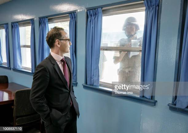 German Foreign Minister Heiko Maas visits the Korean Demilitarized Zone between North Korea and South Korea on July 26 2018 in Korean Demilitarized...