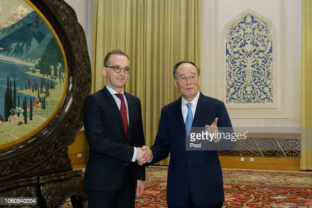 German Foreign Minister Heiko Mass meets Chinese Vice President Wang Qishan at the Great Hall of the People in Beijing China November 13 2018...
