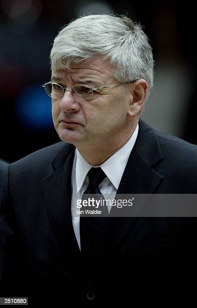 German Foreign Minister Joschka Fischer arrives at a memorial service for murdered Swedish Foreign Minister Anna Lindh September 19 2003 in Stockholm...