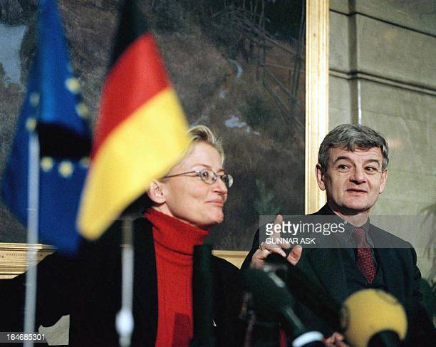 German Foreign Minister Joschka Fischer makes a point during a press conference with his Swedish counterpart Anna Lindh at the Foreign Department in...