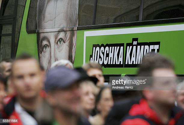 German Foreign Minister Joschka Fischer`s election bus seen on his first day in Hildesheim during the election campaign of the Green Ecologist Party...