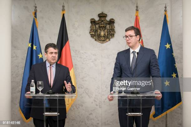 German Foreign Minister Sigmar Gabriel and Aleksandar Vucic President of Serbia speak to the media on February 14 2018 in Belgrade Serbia Gabriel...
