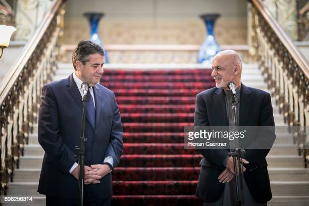 German Foreign Minister Sigmar Gabriel and Aschraf Ghani President of Afghanistan are pictured during a press statement on December 20 2017 in Kabul...