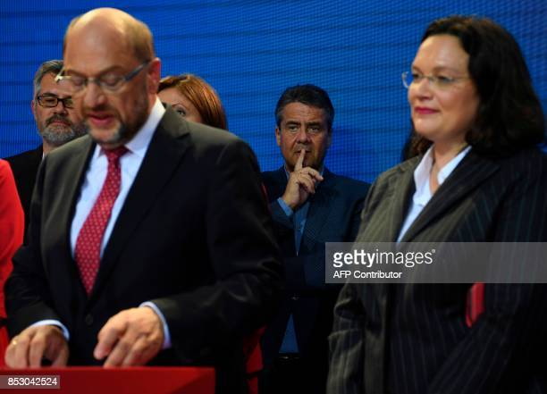 German Foreign Minister Sigmar Gabriel and German Vice Chancellor and German Labour and Social Minister Andrea Nahles listen to SPD chairman and...