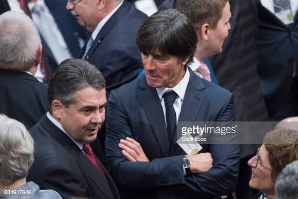 German Foreign Minister Sigmar Gabriel and head coach of Germany's football team Joachim Loew attend the election of the new president of Germany by...