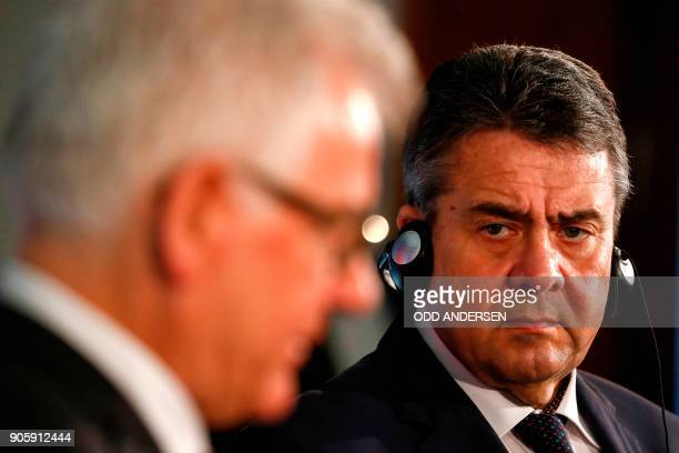 German Foreign Minister Sigmar Gabriel and his Polish counterpart Jacek Czaputowicz hold a joint press conference after a meeting in Berlin on...