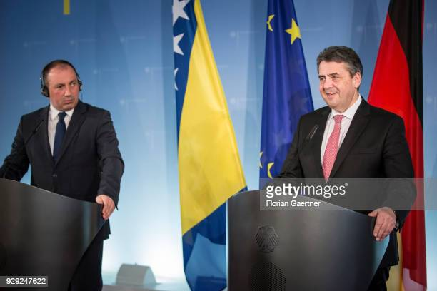 German Foreign Minister Sigmar Gabriel and Igor Crnadak Foreign Minister of Bosnia and Herzegovina speak to the media on March 08 2018 in Berlin...
