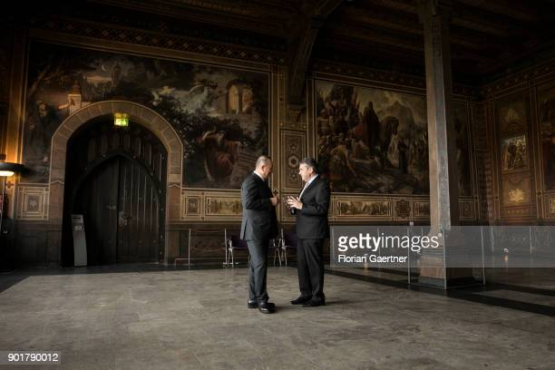 German Foreign Minister Sigmar Gabriel and Mevluet Cavusoglu Foreign Minister of Turkey visit the Imperial Palace of Goslar on January 06 2018 in...