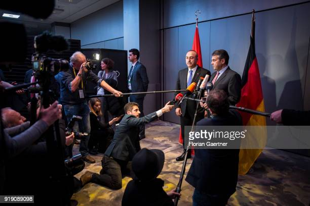 German Foreign Minister Sigmar Gabriel and Mevluet Cavusoglu Foreign Minister of Turkey speak to the media during the Munich Security Conference on...