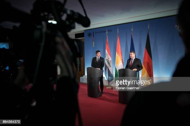 German Foreign Minister Sigmar Gabriel and the Prime Minister of the Kurdistan Regional Government of Iraqi Kurdistan Nechirvan Barzani speak to the...
