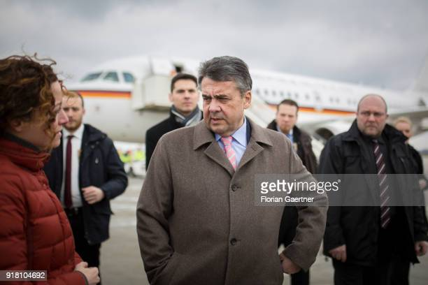 German Foreign Minister Sigmar Gabriel arrives at the airport on February 14 2018 in Belgrade Serbia Gabriel travels Serbia and Kosovo for political...