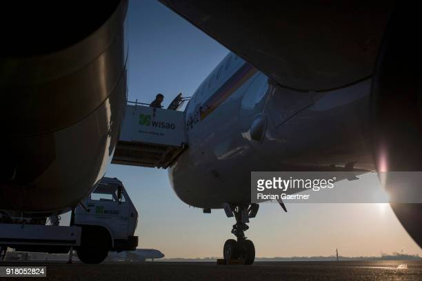 German Foreign Minister Sigmar Gabriel arrives at the government plane before he travels to Belgrade on February 14 2018 in Berlin Germany Gabriel...