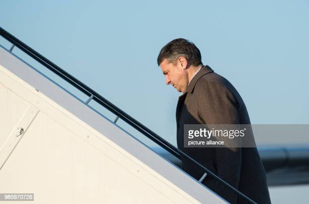 German Foreign Minister Sigmar Gabriel boarding a German Air Force Airbus A319 in Berlin Germany 14 February 2018 Gabriel is traveling to Serbia...
