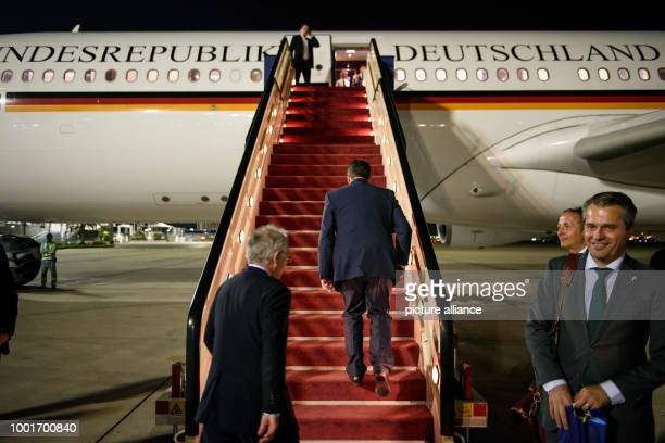 German foreign minister Sigmar Gabriel boards an Airbus A340 after visiting Jeddah Saudi Arabia 3 July 2017 Gabriel is currently conducting a...