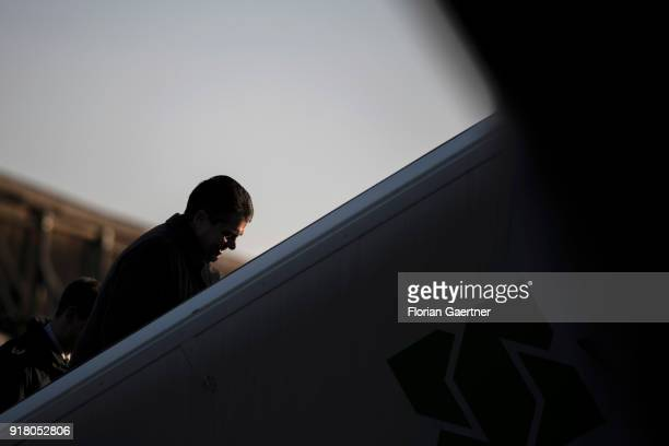 German Foreign Minister Sigmar Gabriel boards the government plane before he travels to Belgrade on February 14 2018 in Berlin Germany Gabriel...