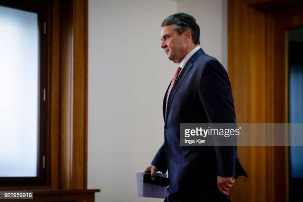 German Foreign Minister Sigmar Gabriel comes from a press conference on February 22 2018 in Berlin Germany