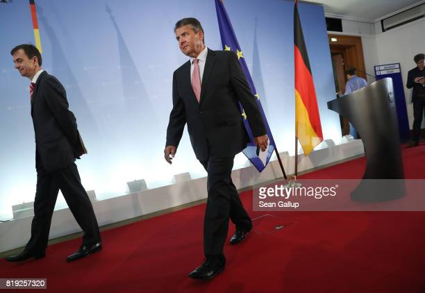 German Foreign Minister Sigmar Gabriel departs after speaking to the media following the arrest in Turkey of yet another German citizen on charges of...