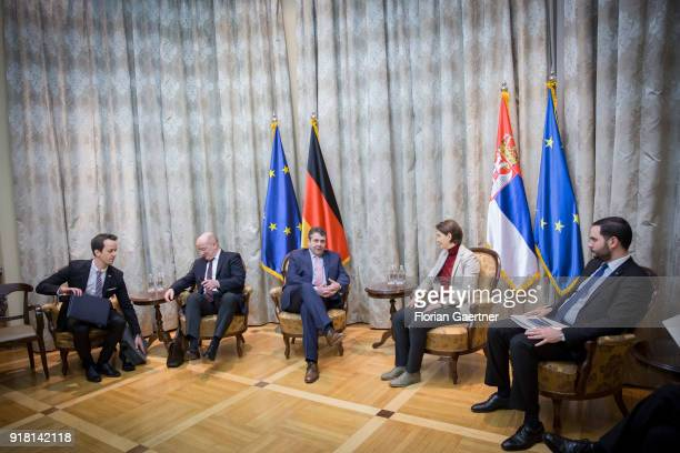 German Foreign Minister Sigmar Gabriel gets together with Ana Brnabic Prime Minister of Serbia on February 14 2018 in Belgrade Serbia Gabriel travels...