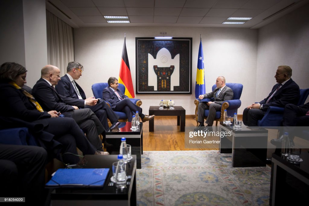 German Foreign Minister Sigmar Gabriel (L) gets together with Ramush Haradinaj (R), Prime Minister of Kosovo, on February 14, 2018 in Pristina, Kosovo. Gabriel travels Serbia and Kosovo for political conversations.