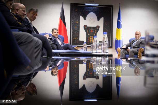 German Foreign Minister Sigmar Gabriel gets together with Ramush Haradinaj Prime Minister of Kosovo on February 14 2018 in Pristina Kosovo Gabriel...