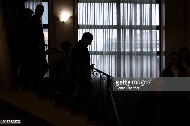 German Foreign Minister Sigmar Gabriel goes downstairs after the meeting with the President of Kosovo on February 15 2018 in Pristina Kosovo Gabriel...